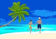 Pares felices de la luna de miel en la escena de la playa ilustración del vector