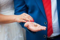 Pares felices del amor que llevan a cabo las manos por la mañana Imagen de archivo libre de regalías