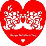 Pares felices del día de tarjeta del día de San Valentín de pájaros stock de ilustración
