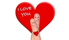 Pares felices del finger en el amor que celebra día de San Valentín Foto de archivo libre de regalías