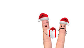 Pares felices del finger en el amor que celebra Navidad Fotografía de archivo libre de regalías