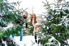 Pares felices en bosque del invierno Imagenes de archivo