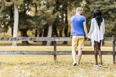 Pares felices en el amor que lleva a cabo las manos en un parque Imágenes de archivo libres de regalías