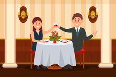 Pares felices en el amor que se sienta en el restaurante y el ilustration de consumición del vector del vino ilustración del vector