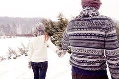 Pares felices en el amor que se va en parque en invierno Fotografía de archivo