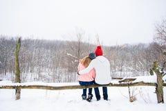 Pares felices en el fondo de la nieve de la parte posterior Foto de archivo libre de regalías