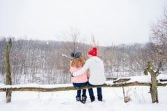 Pares felices en el fondo de la nieve de la parte posterior Fotos de archivo