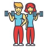 Pares felices en gimnasio de la aptitud, hombre apto y concepto de la mujer Stock de ilustración
