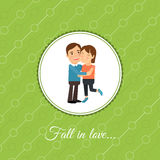 Pares felices en tarjeta del amor libre illustration