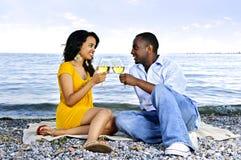 Pares felices que comen vino en la playa Fotografía de archivo libre de regalías