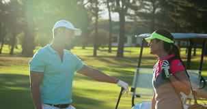 Pares felices que obran recíprocamente con uno a mientras que juega a golf almacen de video