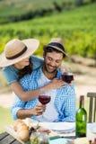 Pares felices que sostienen las copas de vino rojas en la tabla Foto de archivo libre de regalías