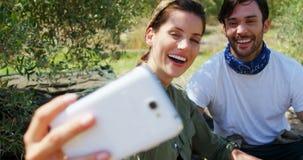 Pares felices que toman el selfie del móvil en la granja verde oliva 4k almacen de metraje de vídeo
