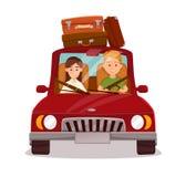 Pares felices Viaje del coche Imagen de archivo libre de regalías