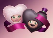 Pares felizes bonitos engraçados dos corações do casamento ilustração stock