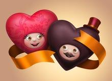 Pares felizes bonitos engraçados dos corações do casamento no amor ilustração do vetor