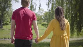 Pares felizes bonitos no amor que anda no parque verde que guarda delicadamente cada um outro para entregar no dia agradável da m vídeos de arquivo