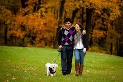 Pares felizes com o cão durante o outono   Imagens de Stock