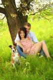 Pares felizes com um cão Imagens de Stock Royalty Free