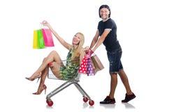 Pares felizes da família de esposa e de marido Foto de Stock