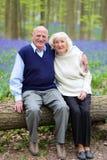 Pares felizes das pessoas idosas que relaxam na floresta Imagem de Stock Royalty Free