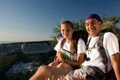 Pares felizes de turista Imagem de Stock