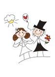 Pares felizes do casamento dos desenhos animados Foto de Stock Royalty Free