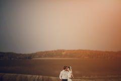 Pares felizes do casamento em um campo Foto de Stock Royalty Free