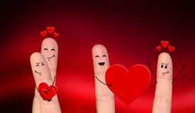 Pares felizes do dedo no amor que comemora o dia de são valentim Imagem de Stock Royalty Free