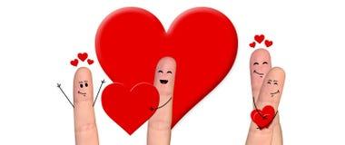 Pares felizes do dedo no amor que comemora o dia de são valentim Fotografia de Stock Royalty Free