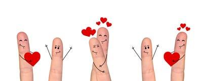 Pares felizes do dedo no amor que comemora o dia de Valentine's Imagem de Stock