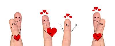 Pares felizes do dedo no amor que comemora o dia de Valentine's Fotografia de Stock