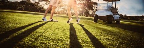 Pares felizes do jogador de golfe que dão a elevação cinco fotografia de stock royalty free