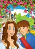 Pares felizes dos desenhos animados que falam no jardim completamente das rosas fotografia de stock royalty free