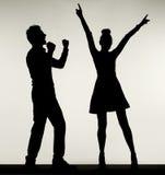 Pares felizes durante a dança Fotografia de Stock
