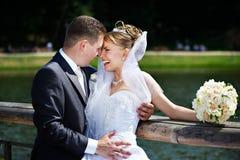 Pares felizes em uma caminhada do casamento Fotos de Stock Royalty Free