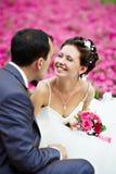 Pares felizes na caminhada do casamento Imagem de Stock Royalty Free