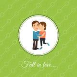 Pares felizes no cartão do amor ilustração royalty free