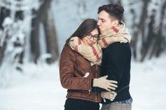 Pares felizes no parque da neve Fotografia de Stock