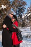 Pares felizes que apreciam no dia de inverno ensolarado bonito Foto de Stock Royalty Free
