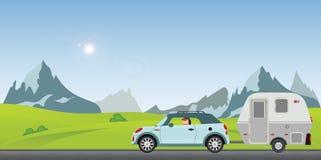 Pares felizes que conduzem o carro na estrada em um dia de mola ensolarado no ho ilustração do vetor