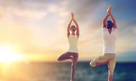 Pares felizes que fazem ioga a árvore levantar sobre o mar fotografia de stock royalty free