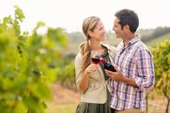 Pares felizes que guardam o vidro e uma garrafa do vinho Imagem de Stock