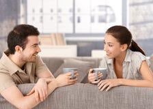 Pares felizes que sentam-se no sorriso bebendo do chá do sofá Imagem de Stock