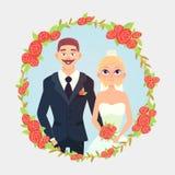 Pares florais do casamento dos desenhos animados do quadro Fotografia de Stock