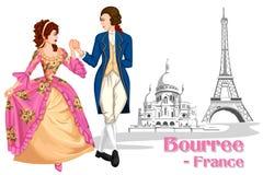 Pares franceses que executam a dança de Bourree de França Imagens de Stock