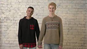 Pares gay internacionales que llevan a cabo las manos, sonriendo, pared de ladrillo blanca en fondo Amor de LGBT, par joven, aman metrajes