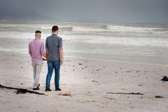 Pares gay que caminan llevando a cabo las manos imágenes de archivo libres de regalías
