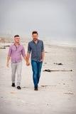 Pares gay que caminan llevando a cabo las manos fotos de archivo libres de regalías