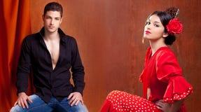 Pares gitanos del bailarín del flamenco de España fotos de archivo